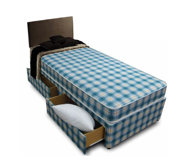 3ft single divan bed including mattress in blue white check for Single divan beds with mattress and headboard
