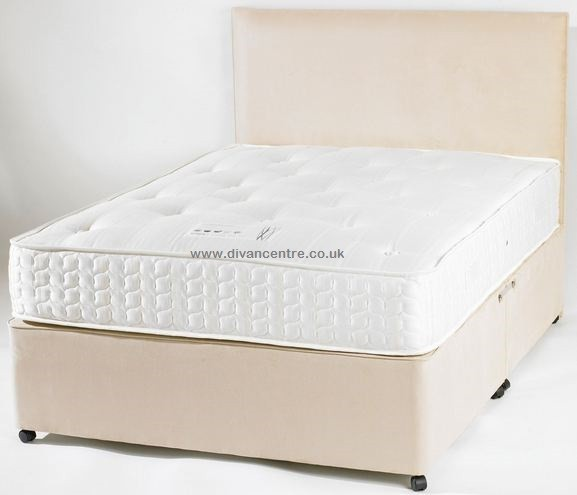 4ft small double divan bed base only in cream faux leather for Double divan base with drawers