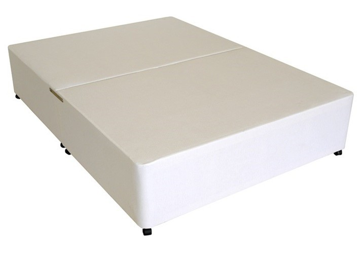 Deluxe 3ft single divan bed base only in white damask fabric for Divan mattress base