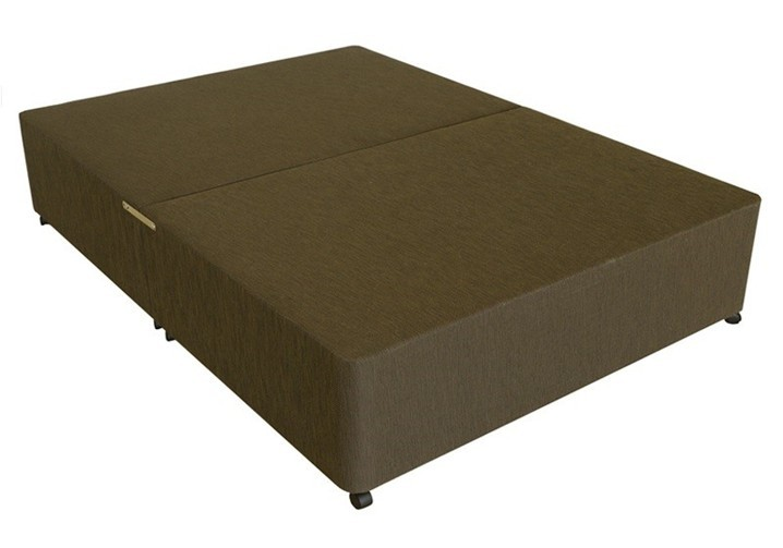 Deluxe 4ft small double divan bed base in brown damask fabric for Divan double bed base