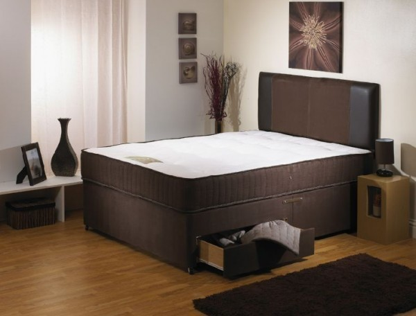 Baronet 4ft 6in Divan Bed With Orthopaedic Mattress In Brown Suede