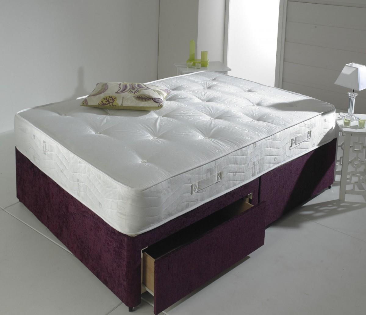 Prestige 5ft Kingsize Divan Bed Base In Aubergine Chenille Fabric
