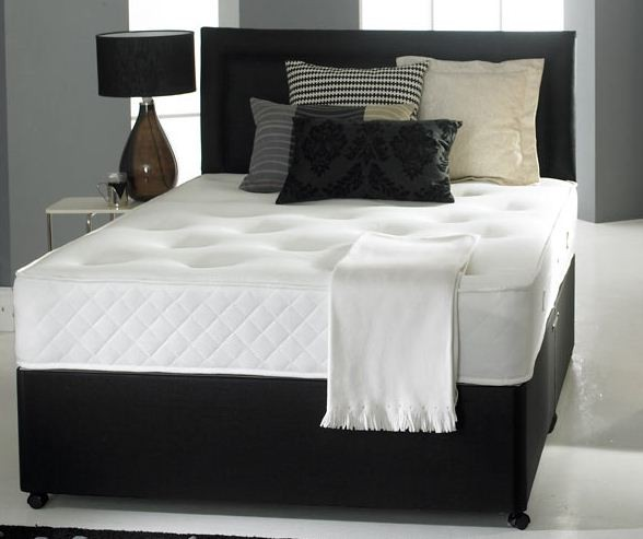 4ft Small Double Divan Bed Base Only In Black Faux Leather