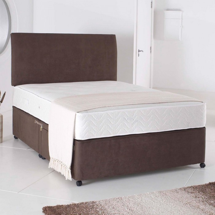 3ft single divan bed base only in chocolate brown suede for Single divan beds