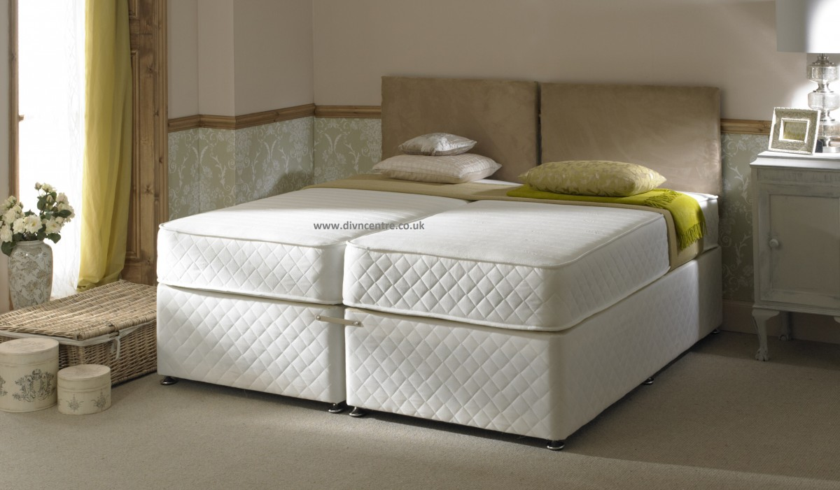 Milan 1500 pocket sprung memory foam 5ft king size zip link bed Bed with mattress