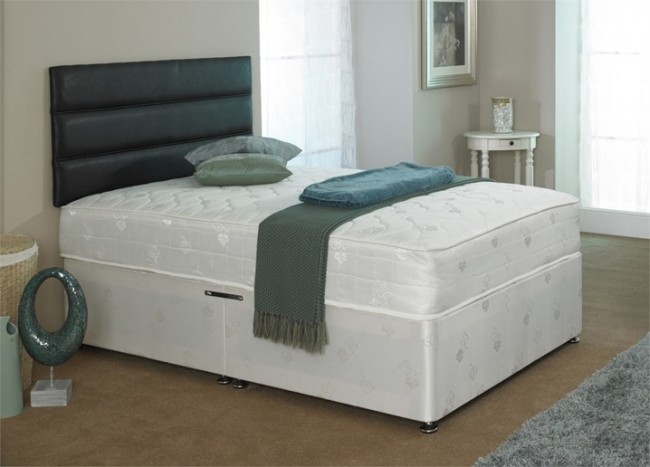 Diamond 4ft small double orthopaedic divan bed in white damask for Small double divan with mattress