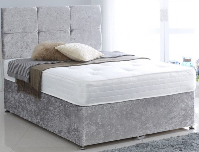 Premium crushed velvet silver 4ft small double divan bed for Small double divan bed
