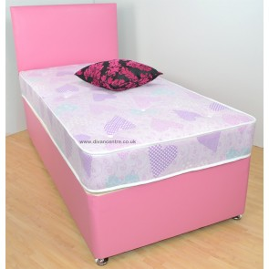 Amelia 2ft 6in Small Single Divan Bed - Pink Faux Leather