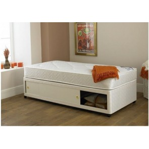 2ft 6in Small Single Divan Bed Base in Cream Damask Fabric