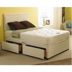 Bali 4ft Double Divan Bed with Orthopaedic Mattress in Stone Suede