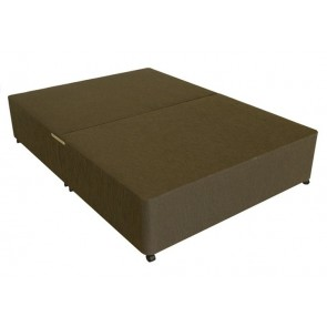 Deluxe 2ft 6in Small Single Divan Bed Base in Brown Damask Fabric