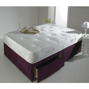 Prestige 4ft Small Double Divan Bed Base in Aubergine Chenille Fabric