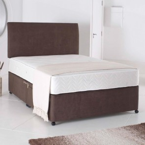 4ft Small Double Divan Bed Base only in Chocolate Brown Colour Suede