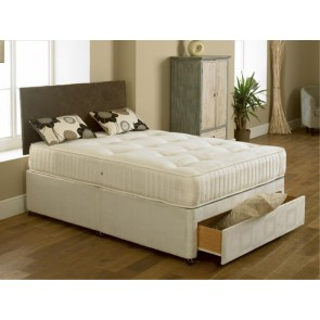 Elite 2ft 6in x 6ft Special Size Divan Bed in Cream Damask