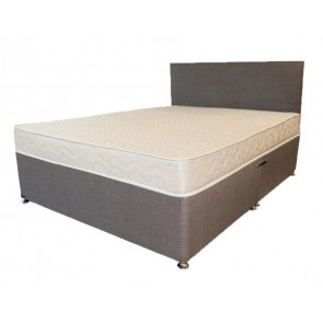 Premium Grey Linen 4ft 6in Double Divan Bed Base only