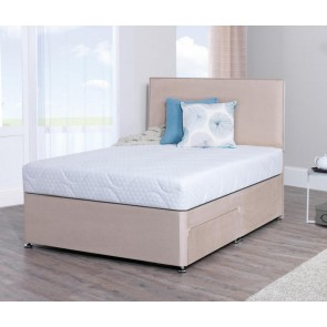 Lifestyle 4ft 6in Double Memory Foam Divan Bed in Stone Faux Suede