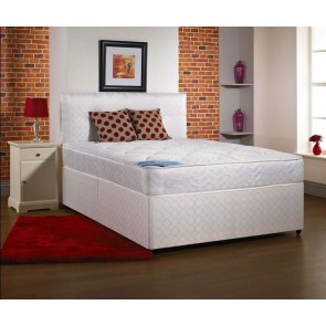 Opal 5ft King Size Divan Bed in white fabric with Mattress