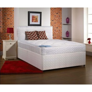 4ft Small Double Divan Bed Base only in White Damask Fabric