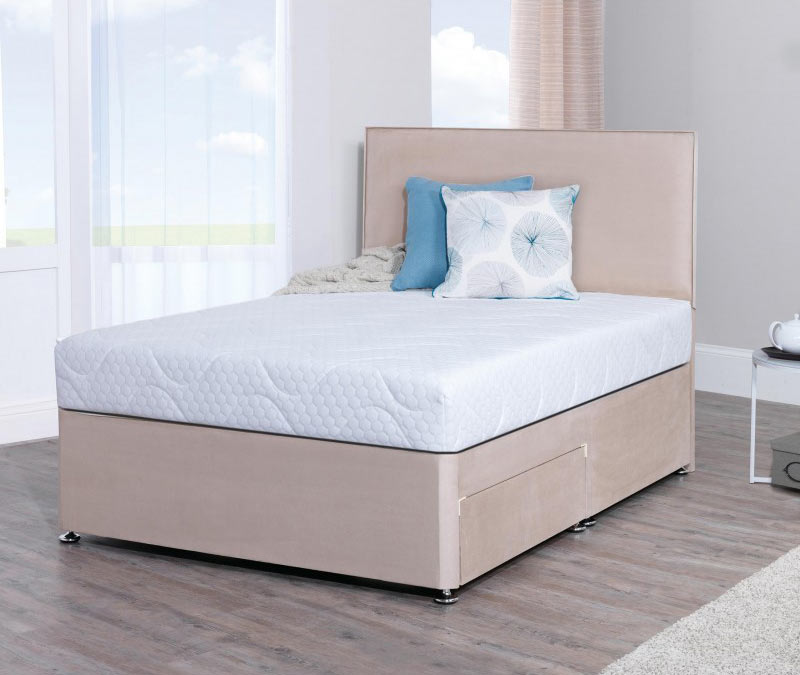 Lifestyle 4ft small double memory foam divan bed in stone for Small double divan bed