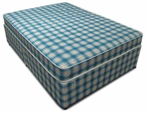 Budget 5ft King Size Divan Bed with Mattress in Blue Check
