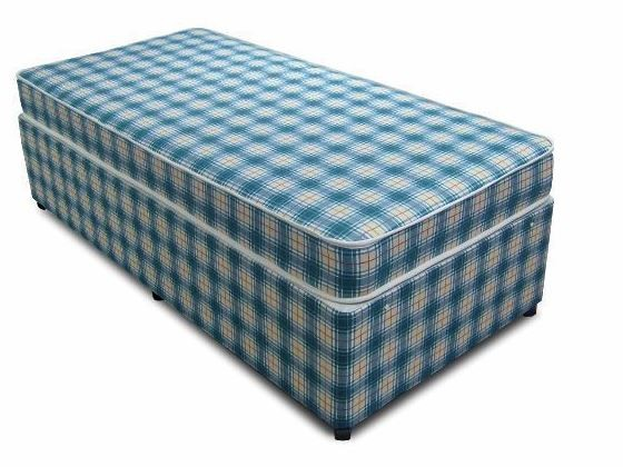 Blue Check 4ft 6in Double Divan Bed Base only