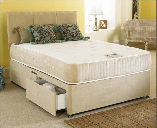 Monarch 4ft Double Divan Bed 1000 Pocket Sprung Memory Foam Mattress