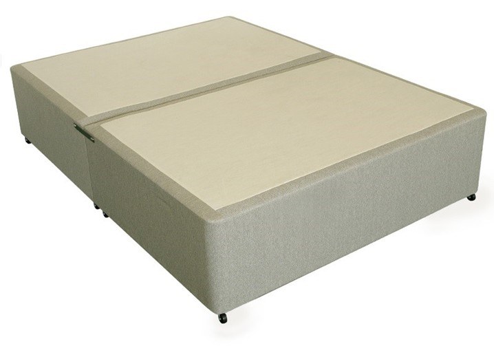 Deluxe 4ft 6in Double Divan Bed Base in Beige Damask Fabric