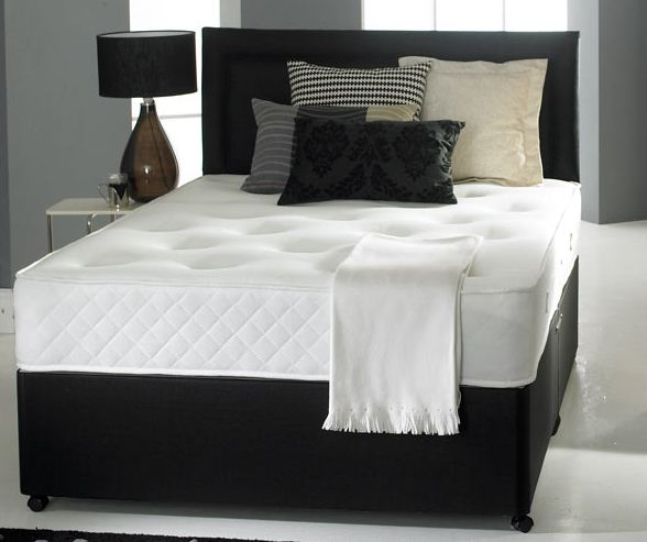 6ft Super King Size Divan Bed Base only in Black Faux Leather