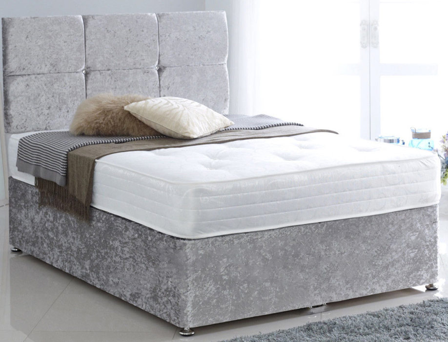 Premium Silver Crushed Velvet 3ft Single Divan Bed Base only