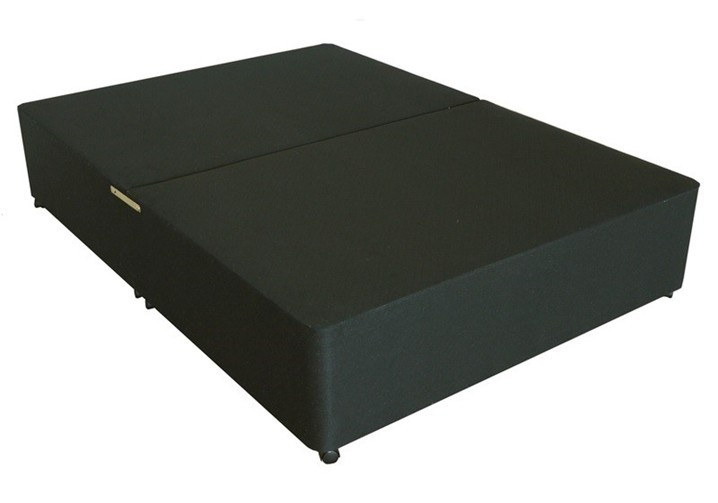 Deluxe 3ft single divan bed base only in black damask fabric for Divan double bed base