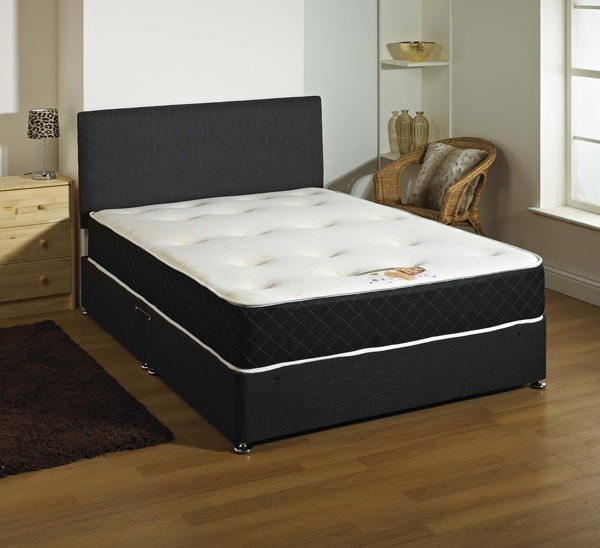 Kensington 1500 pocket memory foam 4ft double divan bed in black Divan double bed with mattress