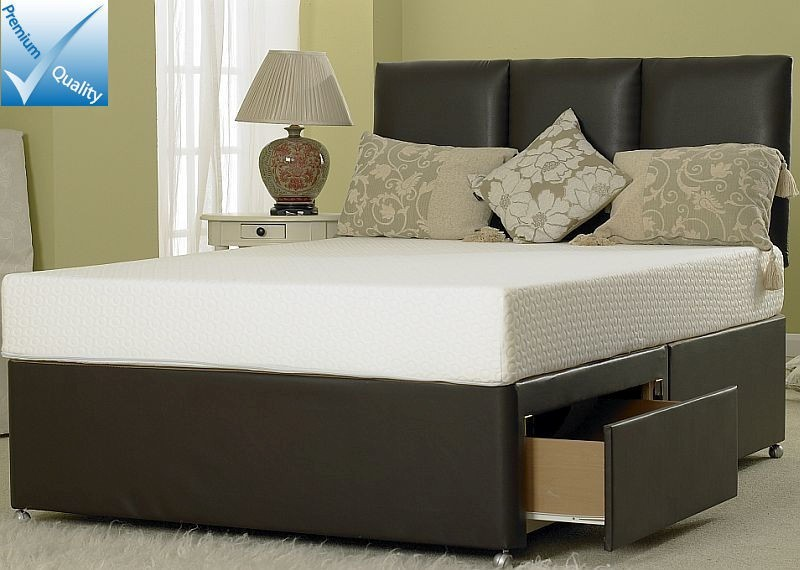 4ft small double divan bed base in brown faux leather for Small double divan bed
