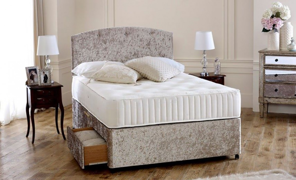 Premium cream crushed velvet 4ft small double divan bed for Compact beds