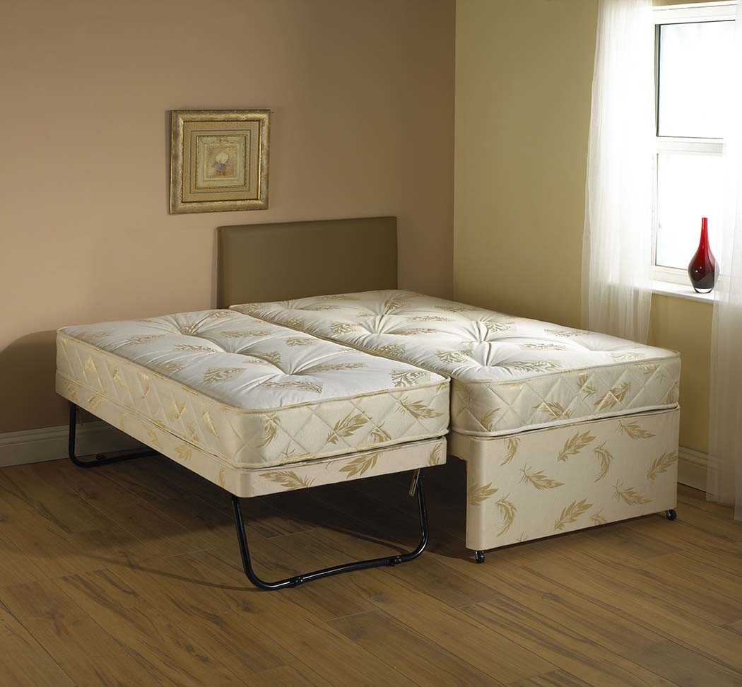 Windsor White 3 In 1 Guest Bed Pull Out Trundle With Mattresses: bed divan