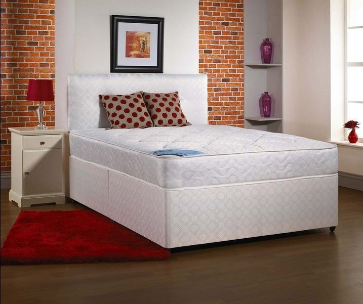 4ft small double divan bed base only in white damask fabric for Small double divan beds with 2 drawers