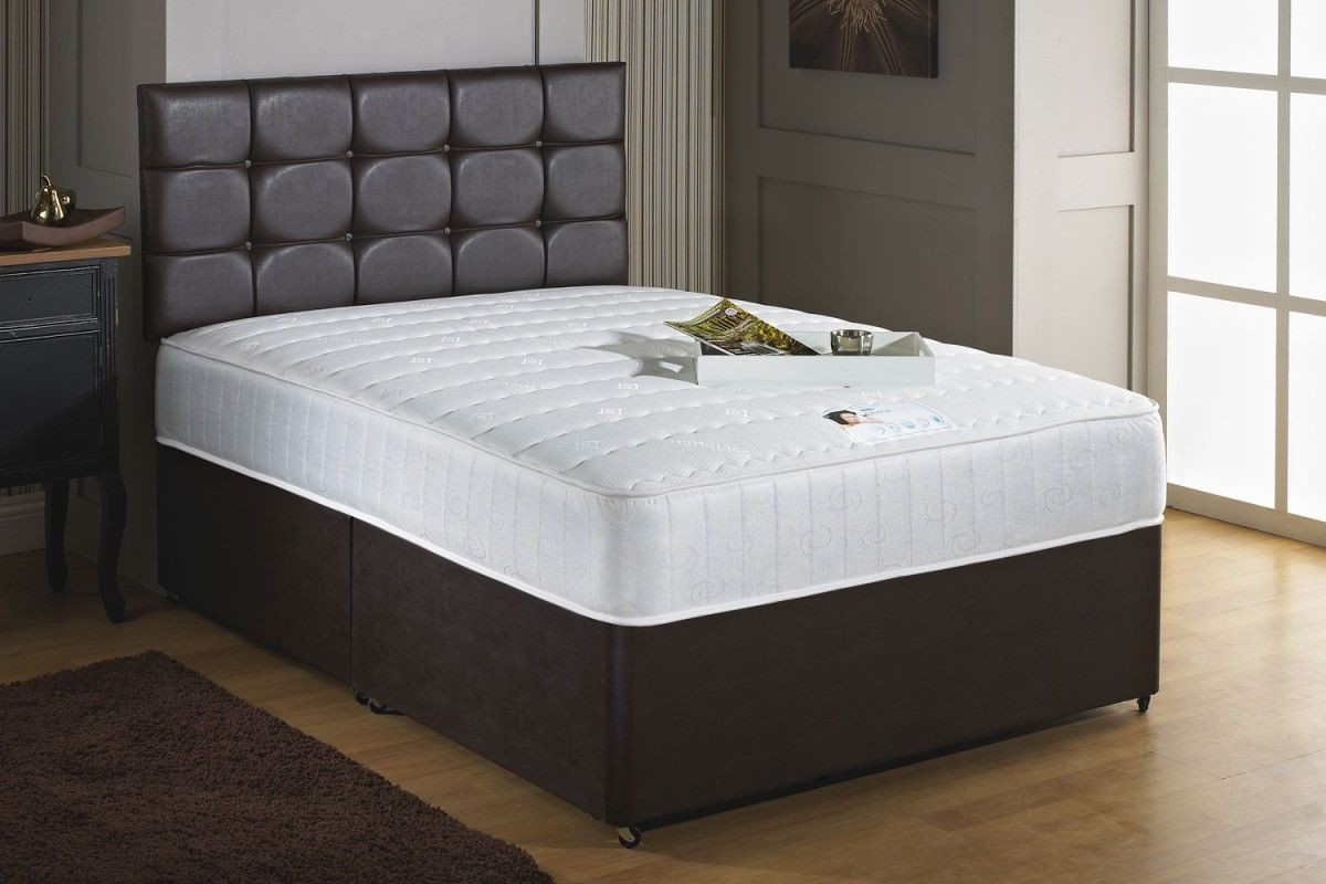 Savoy 1000 pocket sprung memory foam 4ft double divan bed for Grey divan king size bed