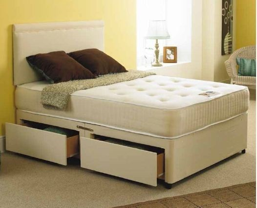 Bali 5ft king size divan bed in stone suede with orthopaedic mattress