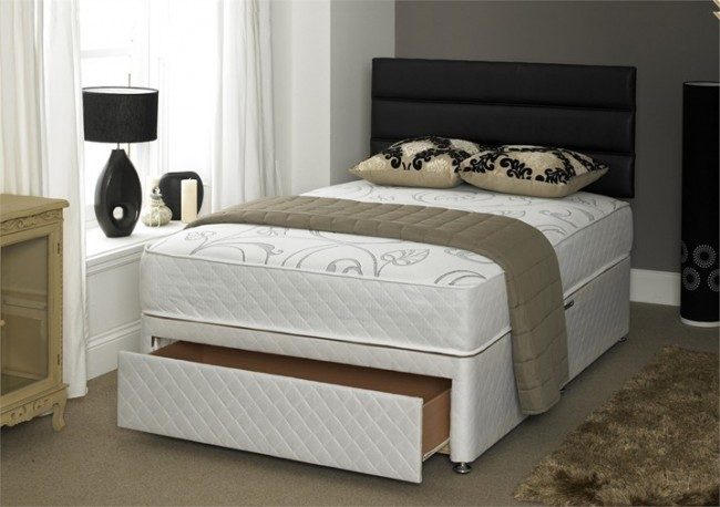 Vitality 1500 pocket memory 5ft king size divan bed for King size divan bed base with drawers