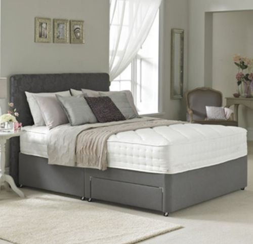 4ft 6in double divan bed base in charcoal faux leather for Double divan with drawers
