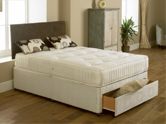 Elite 2ft 6in x 6ft 6in Special Size Divan Bed in Cream Damask