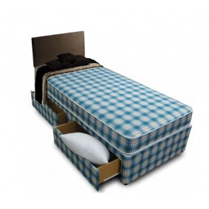 Budget 2ft 6in Small Single Divan Bed with Mattress in Blue Check