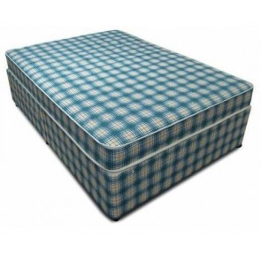 Budget 4ft 6in Double Divan Bed with Mattress in Blue Check