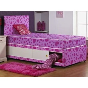 Girls Mira 3ft Single Divan Bed in Pink and Red Hearts