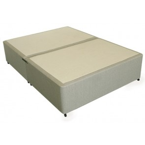 Deluxe 4ft Small Double Divan Bed Base only in Beige Damask Fabric
