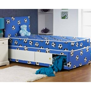 Boys Blue Football Design 3ft Single Divan Bed with Headboard