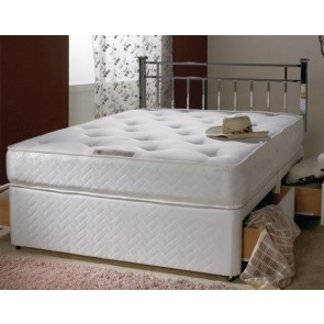 Victoria White 1500 Pocket Sprung 4ft 6in Double Divan Bed Inc Headboard