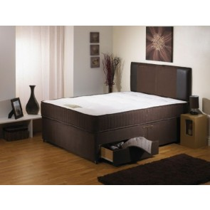 Baronet 5ft King Size Divan Bed & Orthopaedic Mattress in Brown Suede