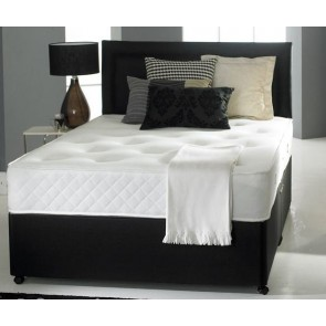 3ft Single Divan Bed Base in Black Faux Leather