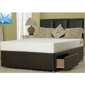 4ft Small Double Divan Bed Base in Brown Faux Leather