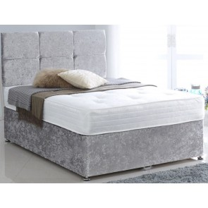 Premium Crushed Velvet Silver 4ft Small Double Divan Bed Base only